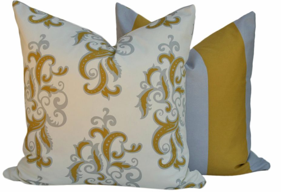 Pillow, 14x14 Square, Yellow and Gray Grey, Vintage Scrolls Collection, Vicki Payne for Free Spirit