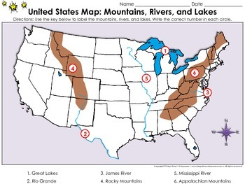 United States Map: Mountains, Rivers, and Lakes - Locate ...