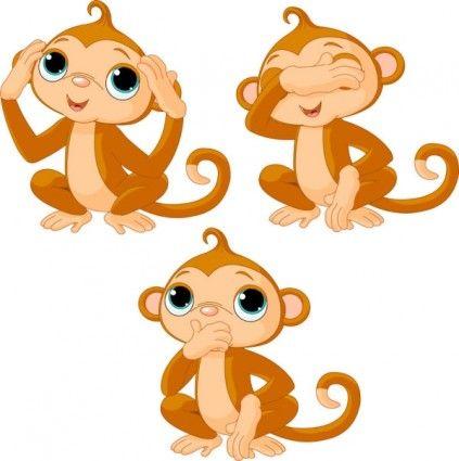 monkey cartoon image 01 vector