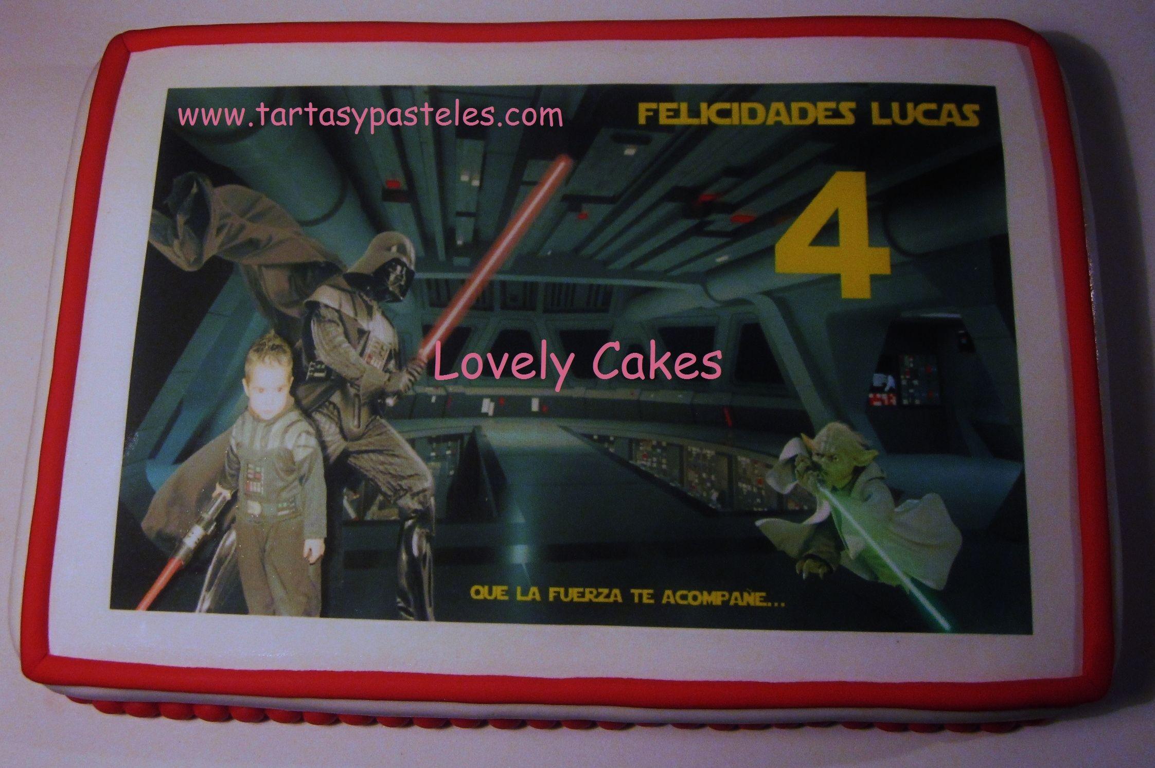 Tarta de Lucas junto Darth Vader y Yoda