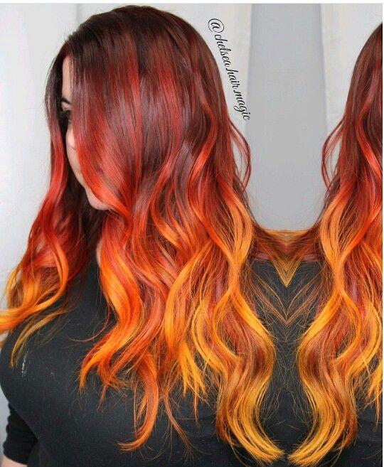 окрашивание волос как пламя фото того