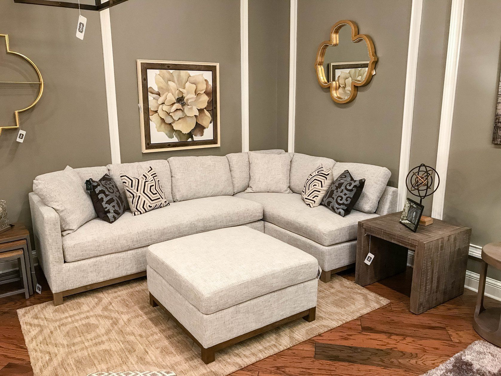 Super Clifton Sectional Right Arm Facing Tweed Driftwood Pabps2019 Chair Design Images Pabps2019Com