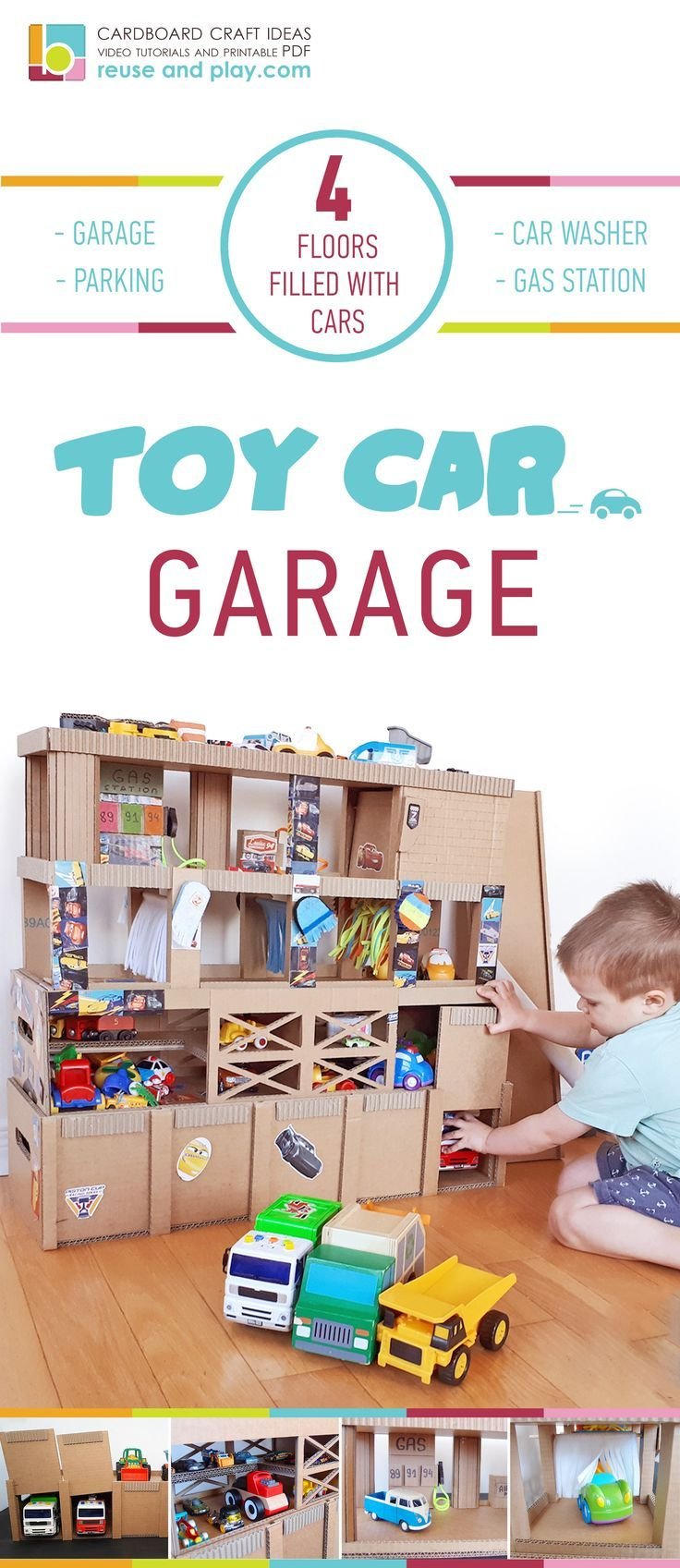 Toys car for child  Toy Car Garage Cardboard Storage Printable PDF Pattern DIY Tutorial