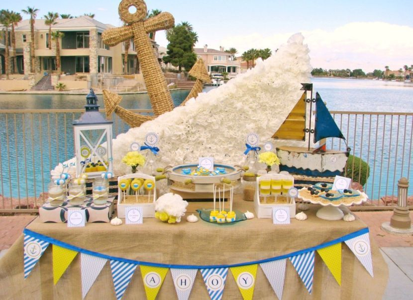 Creative Nautical Baby Shower Table Setting With Sailboat Centerpiece
