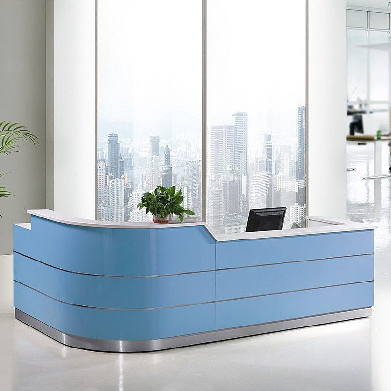 Commerical Furniture Luxury Hotel Front Desk Modern White Curved