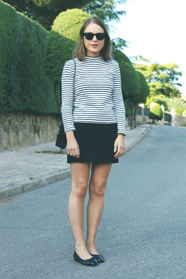 a4d0257eae8 black flats, black mini skirt, breton stripe top, collar, collarbone length  hair, long bob, flat hair, ray ban sunglasses, fall style from: la-mariniere