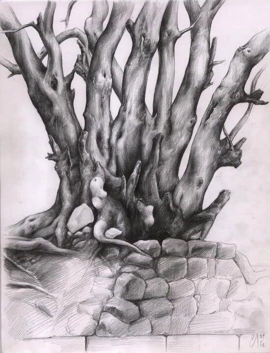 Karakalem Agac Resimleri Karakalem Calışması Ağaç Ve Yol