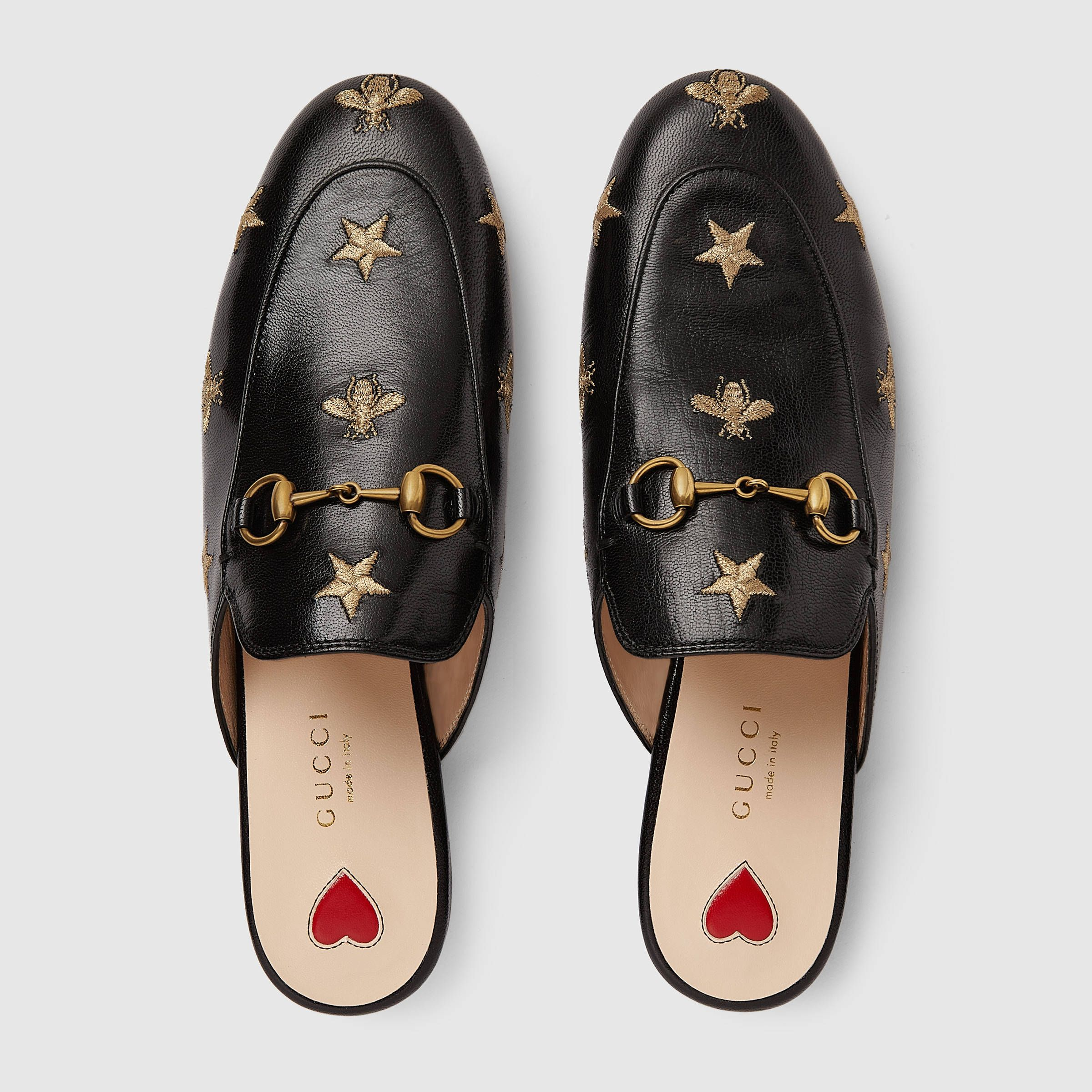 efc716a2167 Gucci Princetown embroidered leather slipper Detail 3