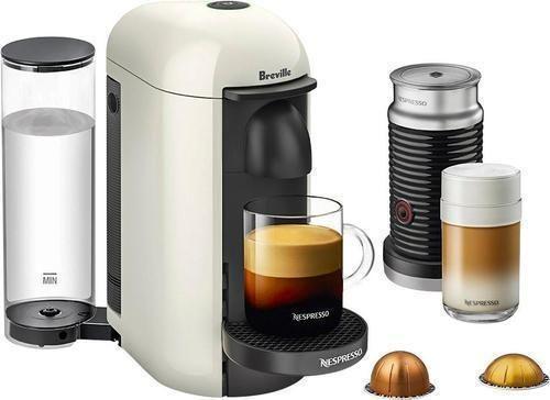 Nespresso - VertuoPlus Coffee Maker and Espresso Machine with Aeroccino Milk Frother by Breville - White