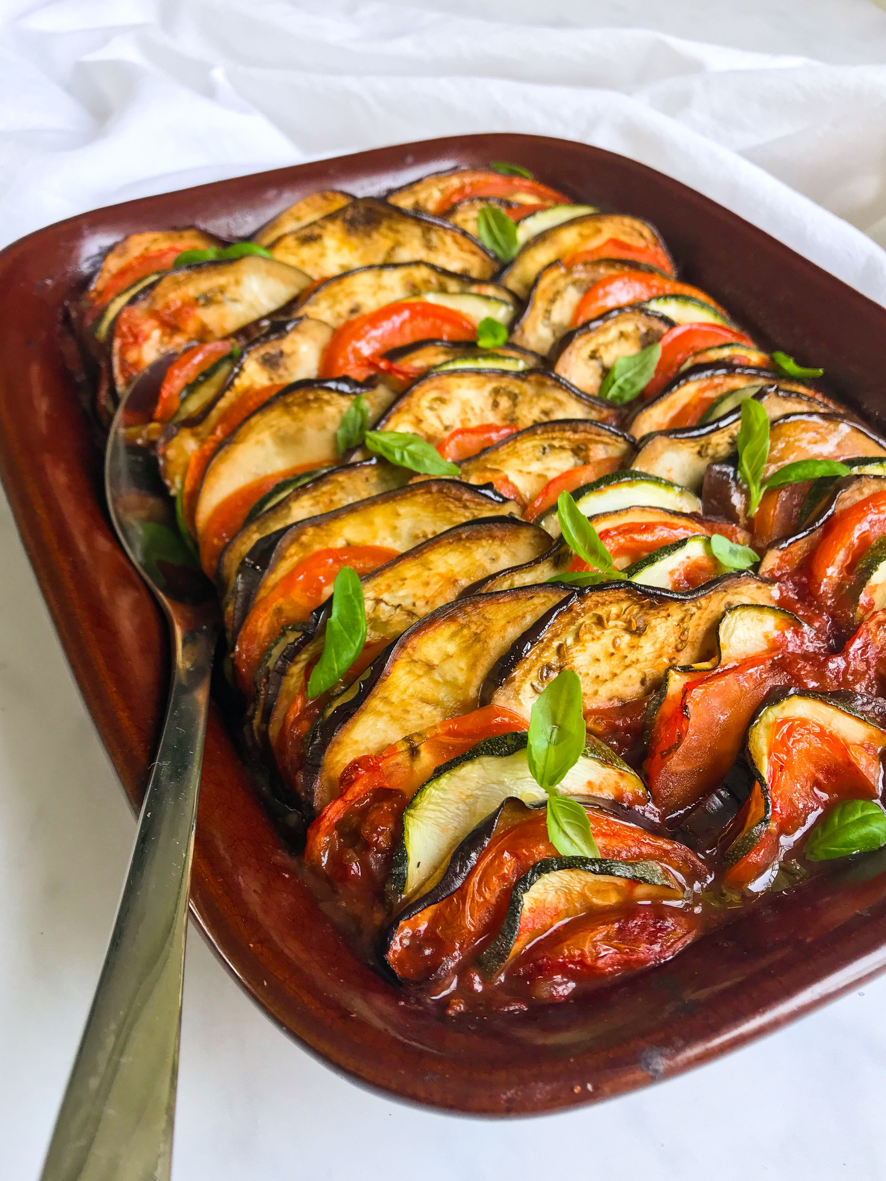 Rainbow Baked Ratatouille With Basil Thyme