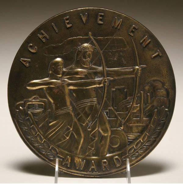 Art Deco cast brass achievement award medal plaque;