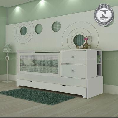 Berço-cama com cama auxiliar Multifunção Sol e Mar II Certificado Inmetro em MDF Branco Acetinado - Divicar R$2502.81