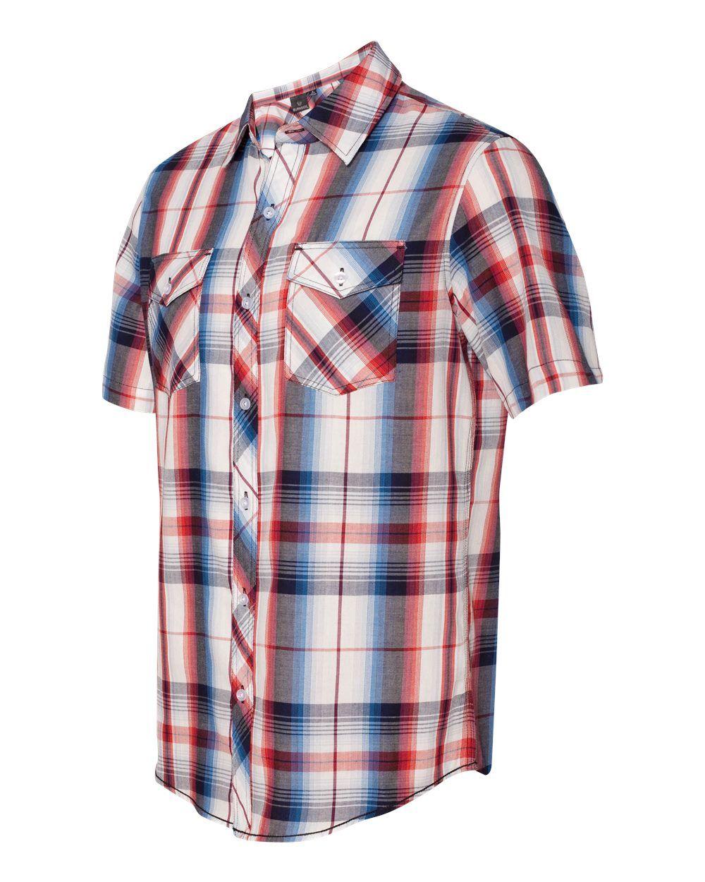Flannel shirt apron  Burnside B  Plaid Short Sleeve Shirt  Wholesale and Bulk