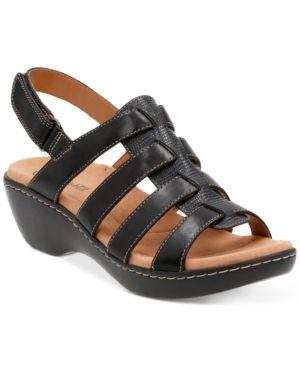 clarks black flat sandals