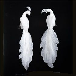 12 Pack Of 11 White Peacock Clip On 90 Bird Christmas Ornaments Peacock Bird