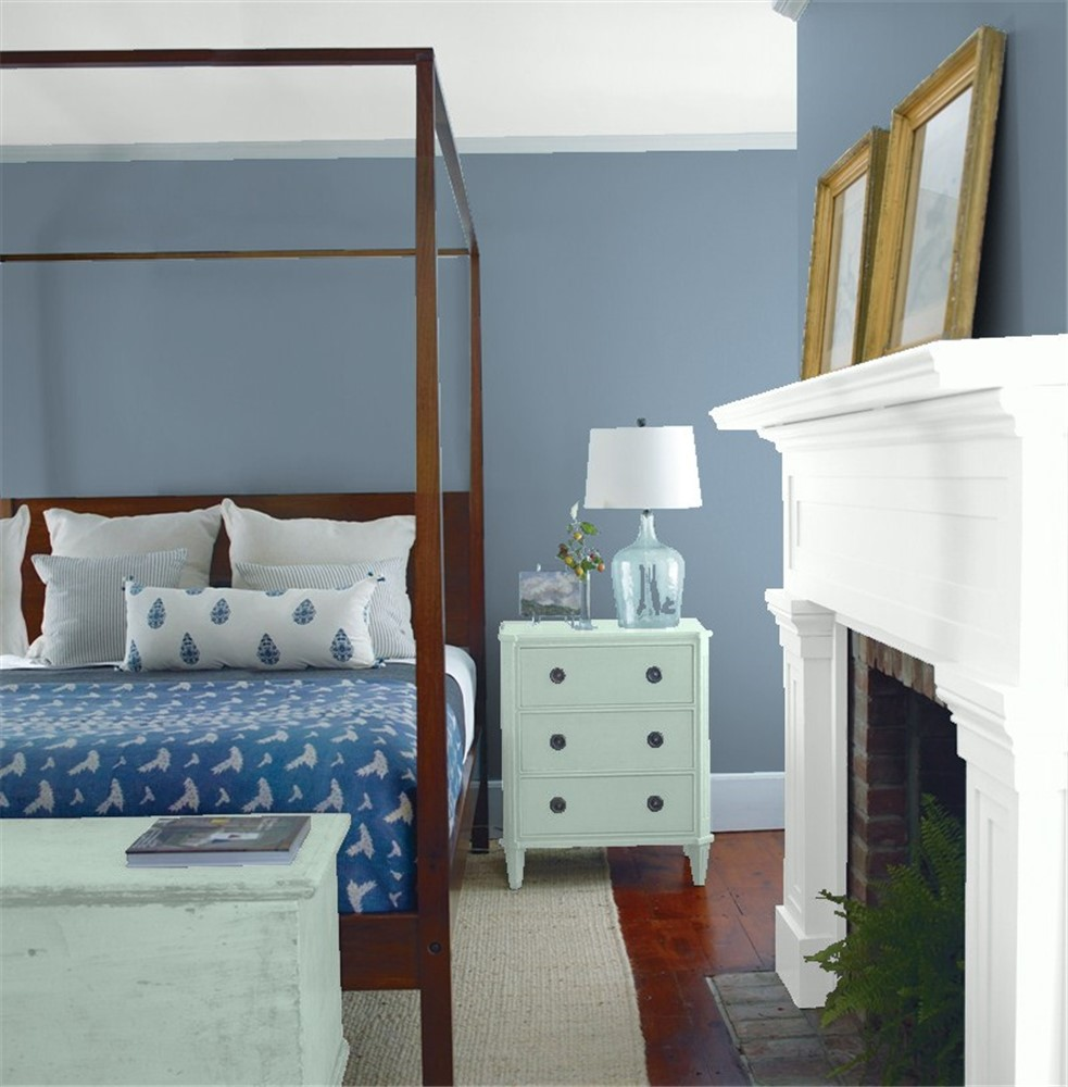 "Modern Bachelor S Bedroom Callout In 2019: Benjamin Moore Paint Color ""Bachelor Blue"""