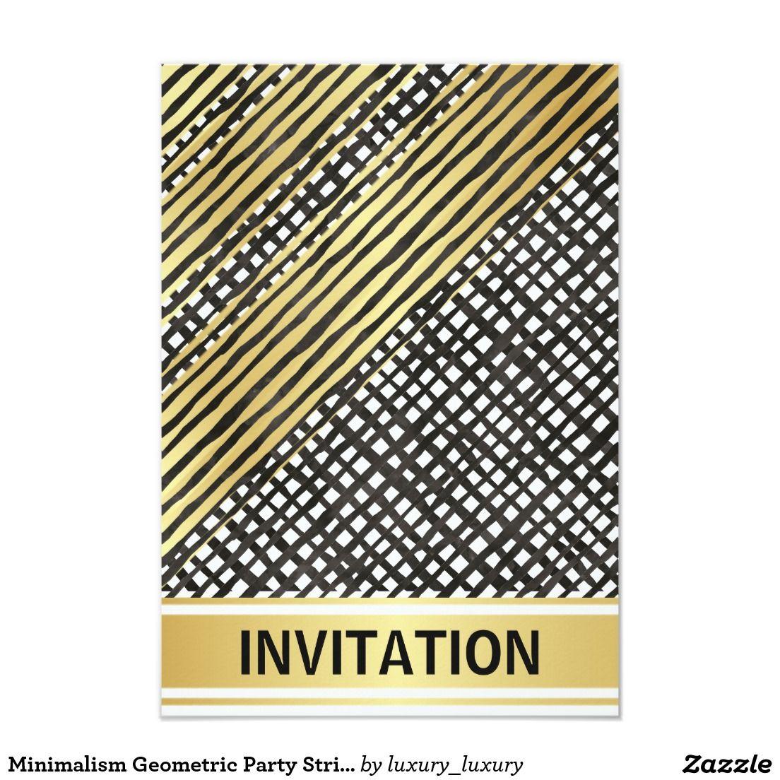 Minimalism Geometric Party Stripes Golden Black 9 Cm X 13 Cm Invitation Card
