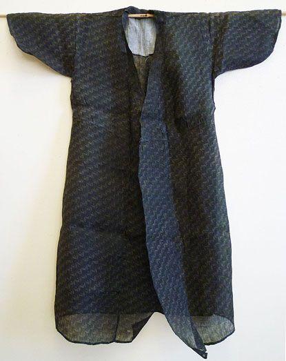 A Resist Dyed Bashofu Kimono Dress Okinawan Banana Fiber Cloth