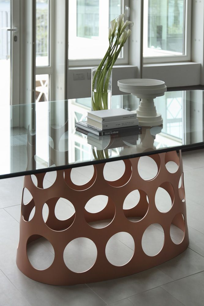 Porada arredi srl glass top table brown base with holes for Porada arredi srl