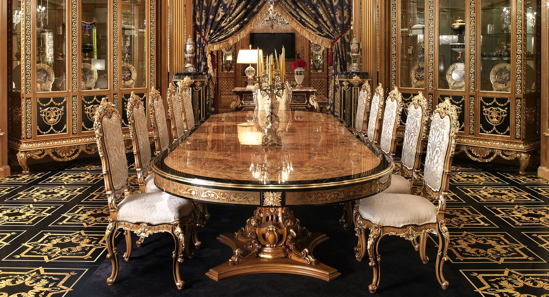 Luxury dining furniture exquisite boulle marquetry work for Luxury dining room design