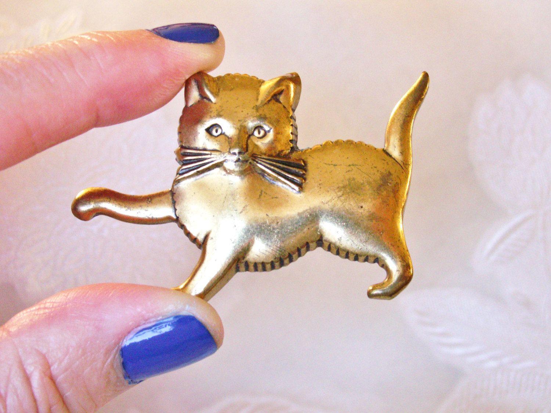 Vintage Gold Tone Kitten Brooch Cat Pin Cat Pin Vintage Gold Kitten