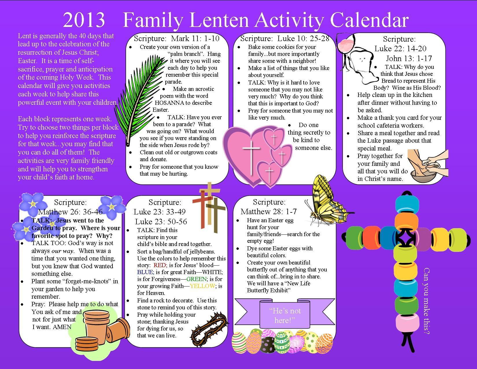 Family Lenten Calendar
