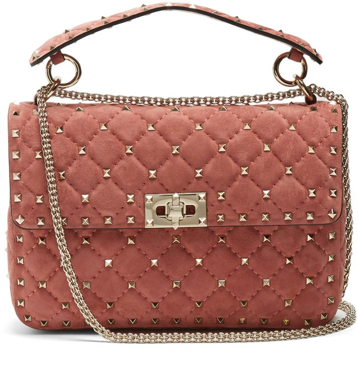 Valentino Rockstud Spike Quilted Suede Chain Shoulder Bag uHHDF48bZo