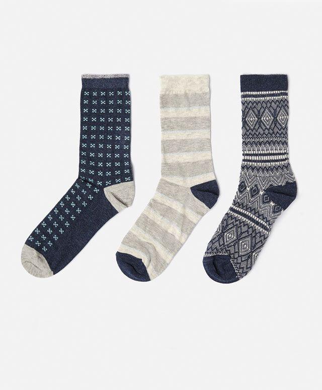 d702dd6528e84 3-pack medium length diamond print socks - OYSHO | Women socks ...