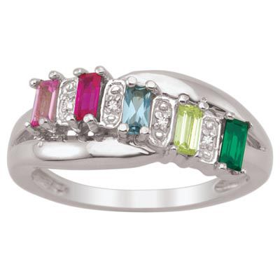 Zales Couples Baguette Simulated Birthstone Triple Row Ring in Sterling Silver (2 Stones and Names) KrN3rTmK