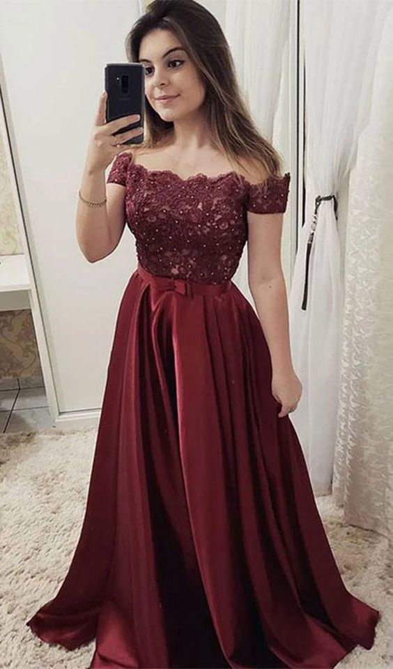 Burgundy off shoulder lace long prom dress, burgundy evening dress  ML757 -   18 dress Winter party ideas