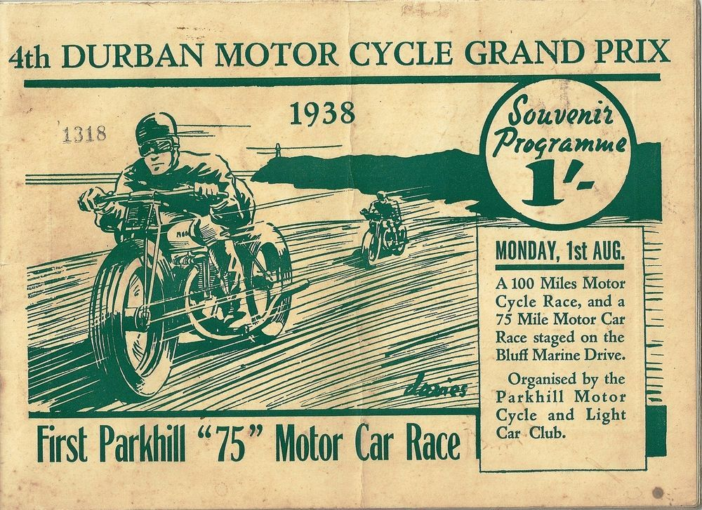 RARE SOUTH AFRICAN 4th DURBAN MOTOR CYCLE GRAND PRIX 1938