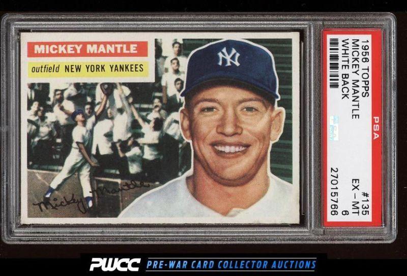 1956 Topps Mickey Mantle White Back 135 Psa 6 Exmt Pwcc