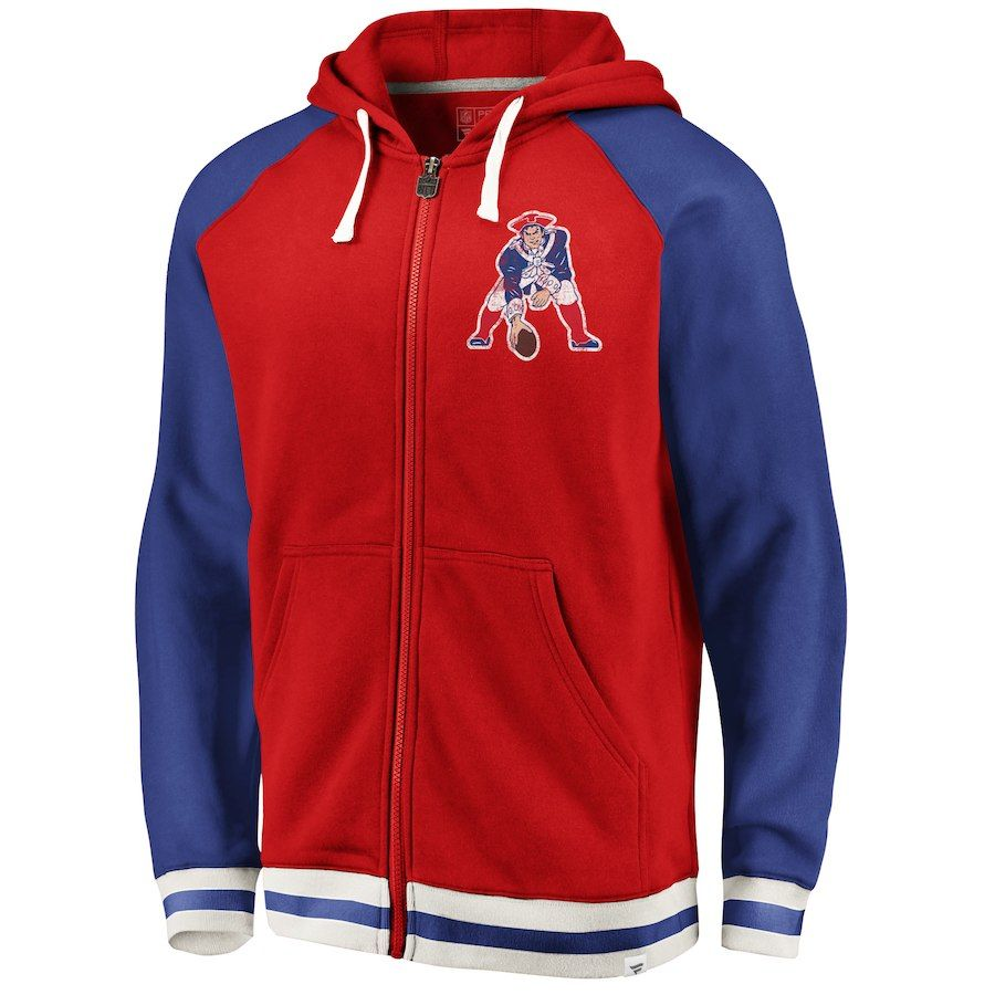 Men S New England Patriots Nfl Pro Line By Fanatics Branded Red Royal True Classics Full Zip Hoo New England Patriots Gear New England Patriots Full Zip Hoodie