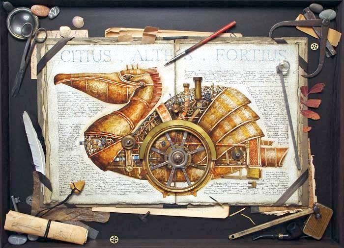 03-Vladimir-Gvozdev-Surreal-Steampunk-Animal-Drawings-www-designstack-co