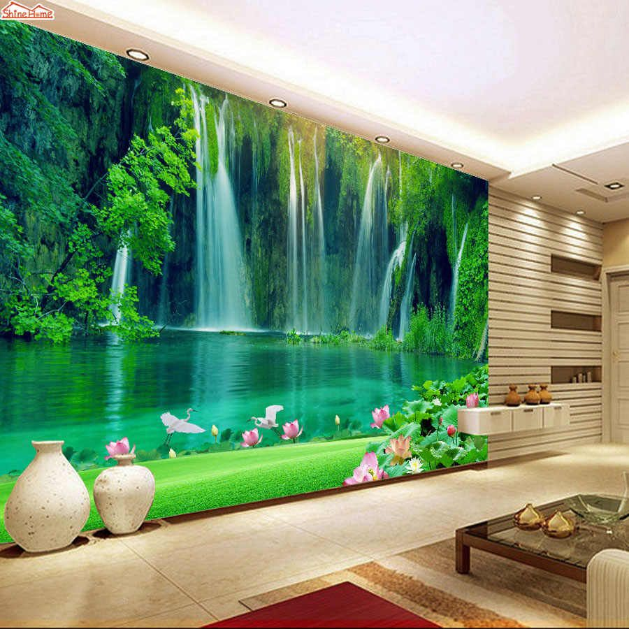 Custom Any Size Green Forest Waterfall Nature Landscape 3d Mural Wallpaper Living Room Bedroom Ph 3d Wallpaper For Walls Wallpaper Walls Bedroom Wall Wallpaper 3d forest mural wallpaper