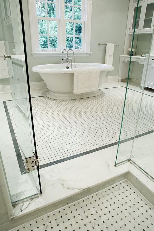 Marble Basketweave Tiles Contemporary Bathroom Terra Verre