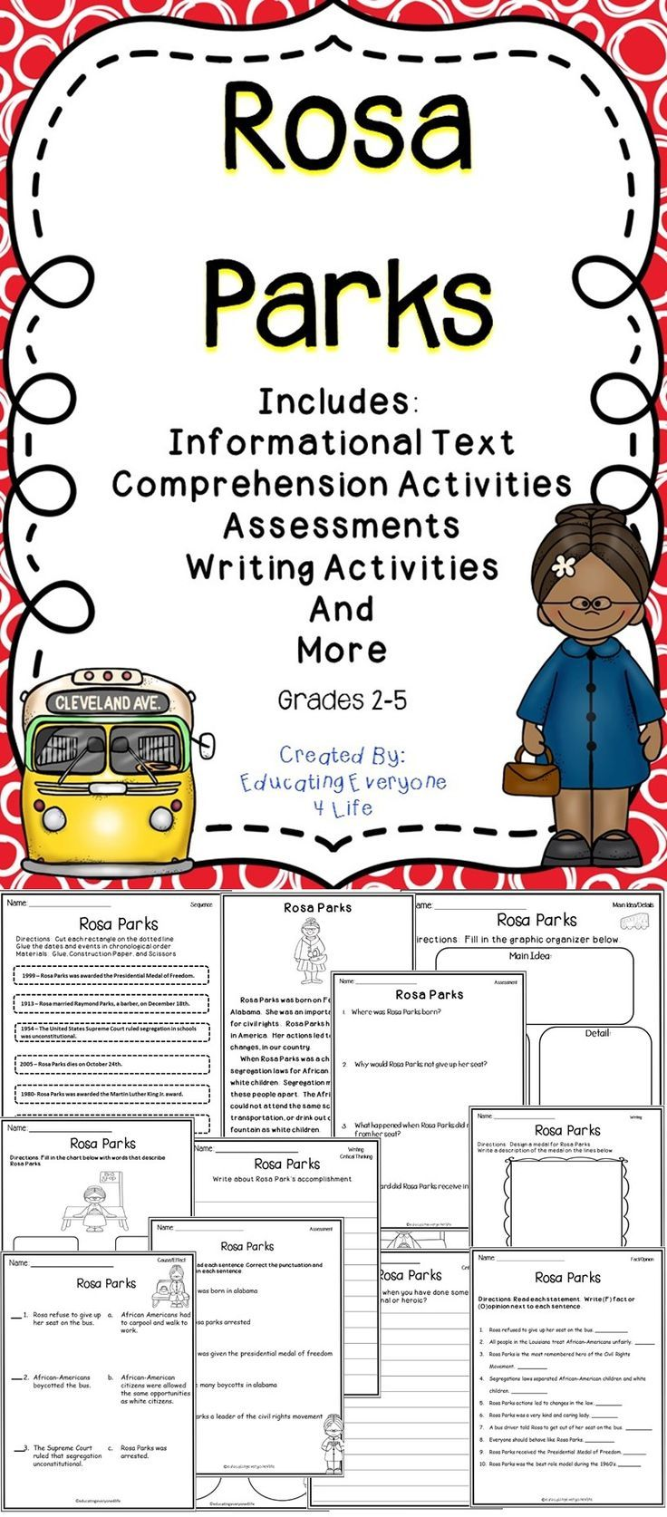 worksheet Rosa Parks Worksheets rosa parks education pinterest and the ojays this supplemental resource includes engaging no prep activities for the