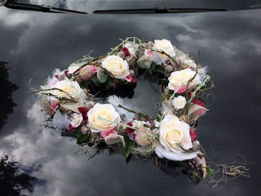 Autoschmuck Set 3 Teilig Herz Und Schleifen Autodekoration Etsy Autoschmuck Hochzeit Auto Dekoration Blumenstrauss Hochzeit