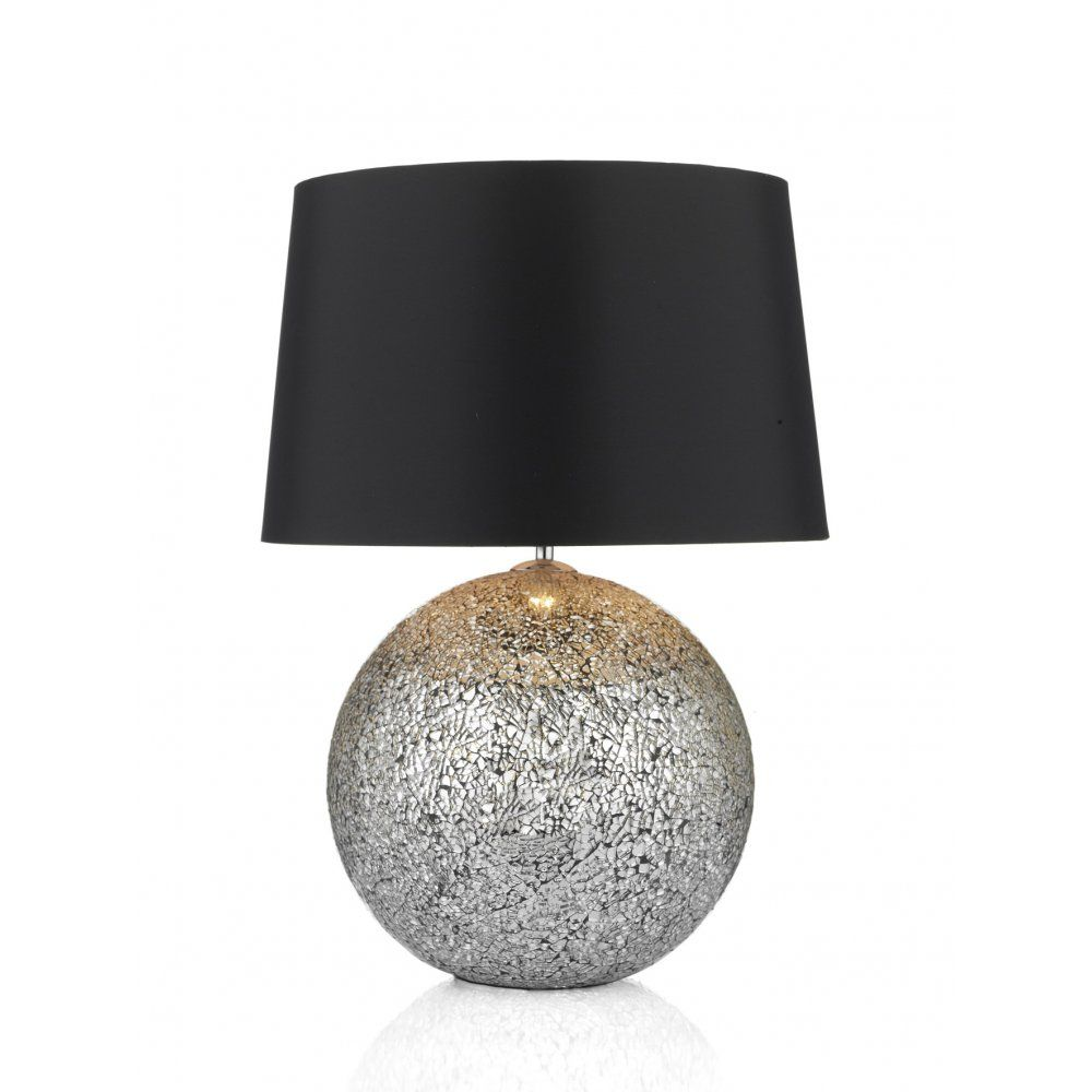 Dar gli4232 glitter 2 light mirrored table lamp black shade dar gli4232 glitter 2 light mirrored table lamp black shade polished chrome geotapseo Images