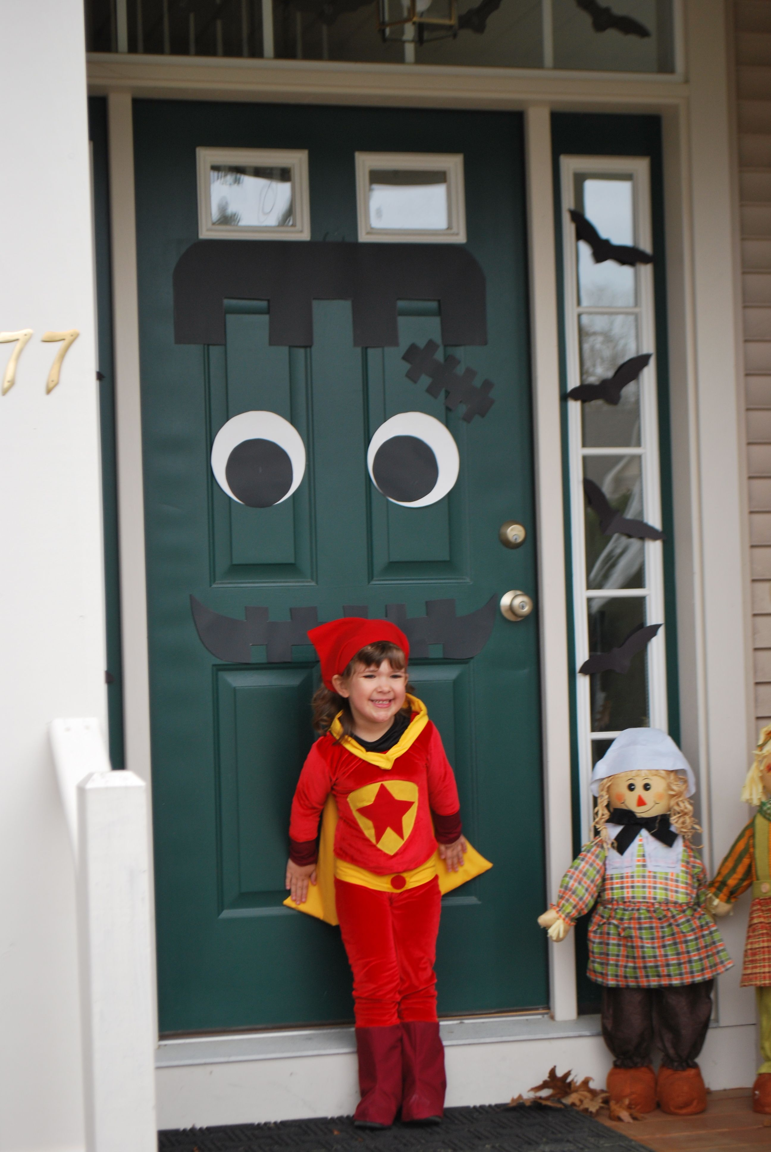 amelia's word girl costume and our frankenstein door! | halloween