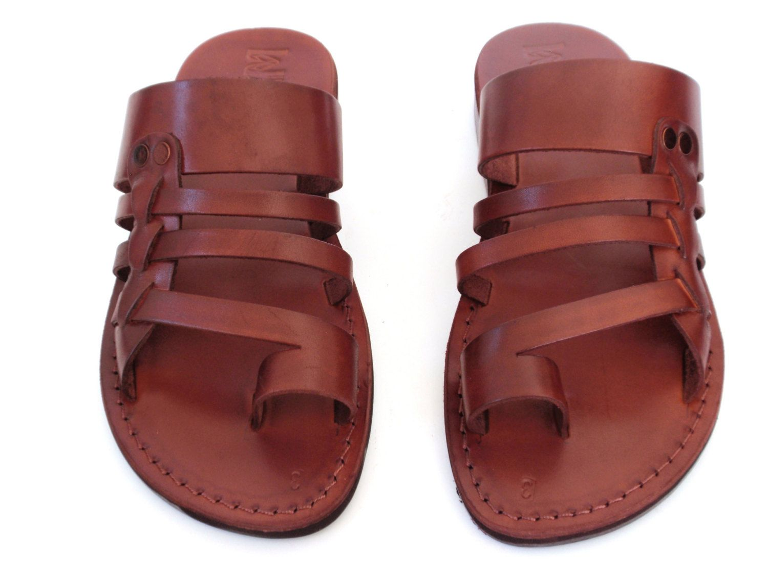 a063719d17fc2 Brown Greek style Handmade Summer Leather Spartan Sandals for Men ...