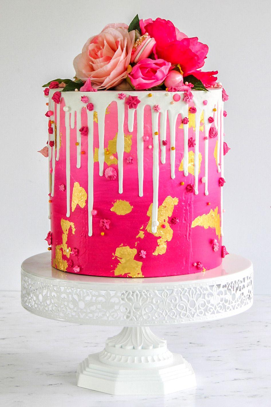 12 inch round metal wedding cake stand white hot pink