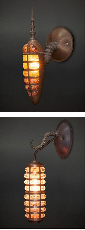 Steampunk sconces by Evan Chambers                                                                                                                                                                                 More