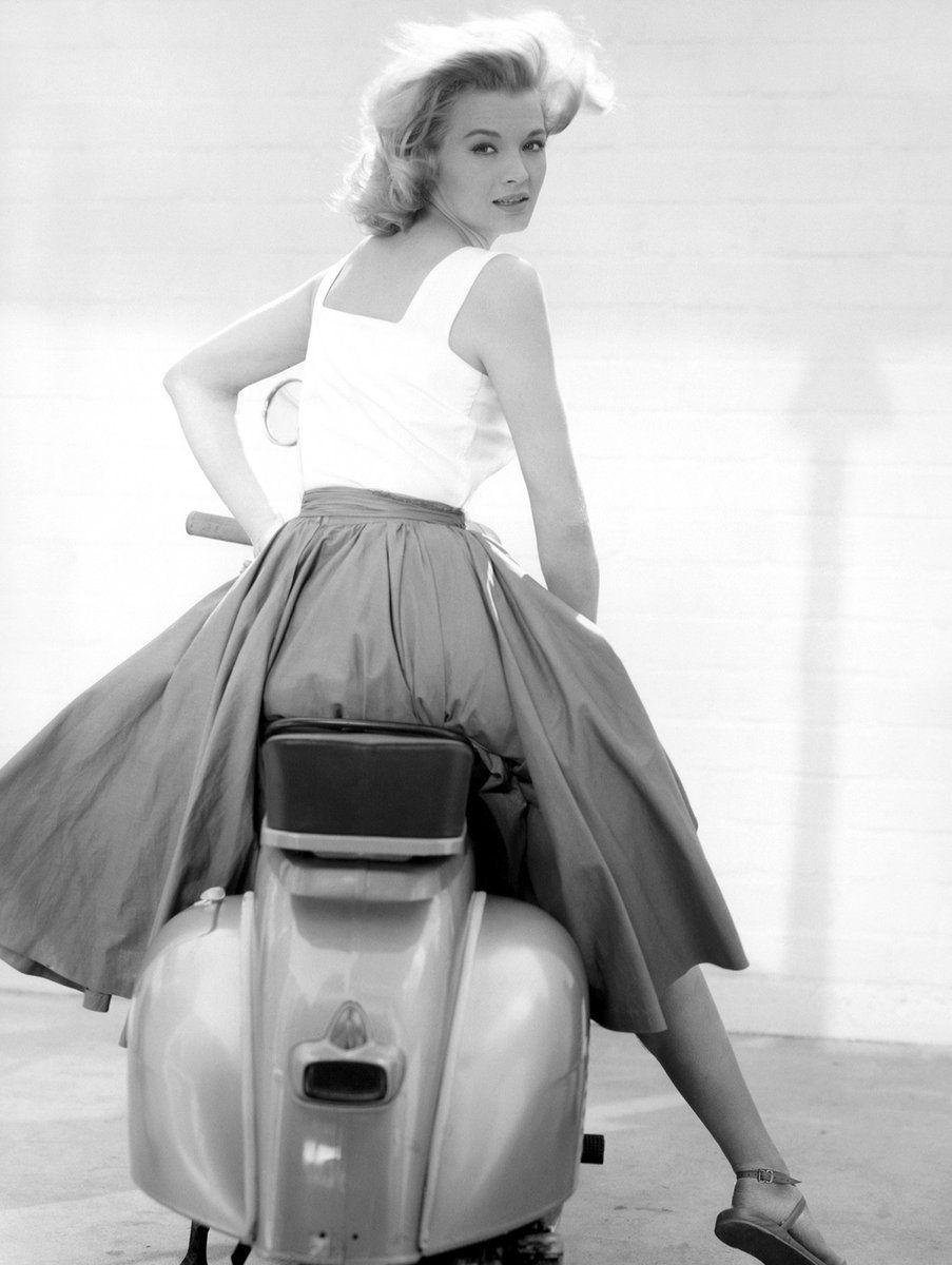 Angie Dickinson on a Vespa, 1962