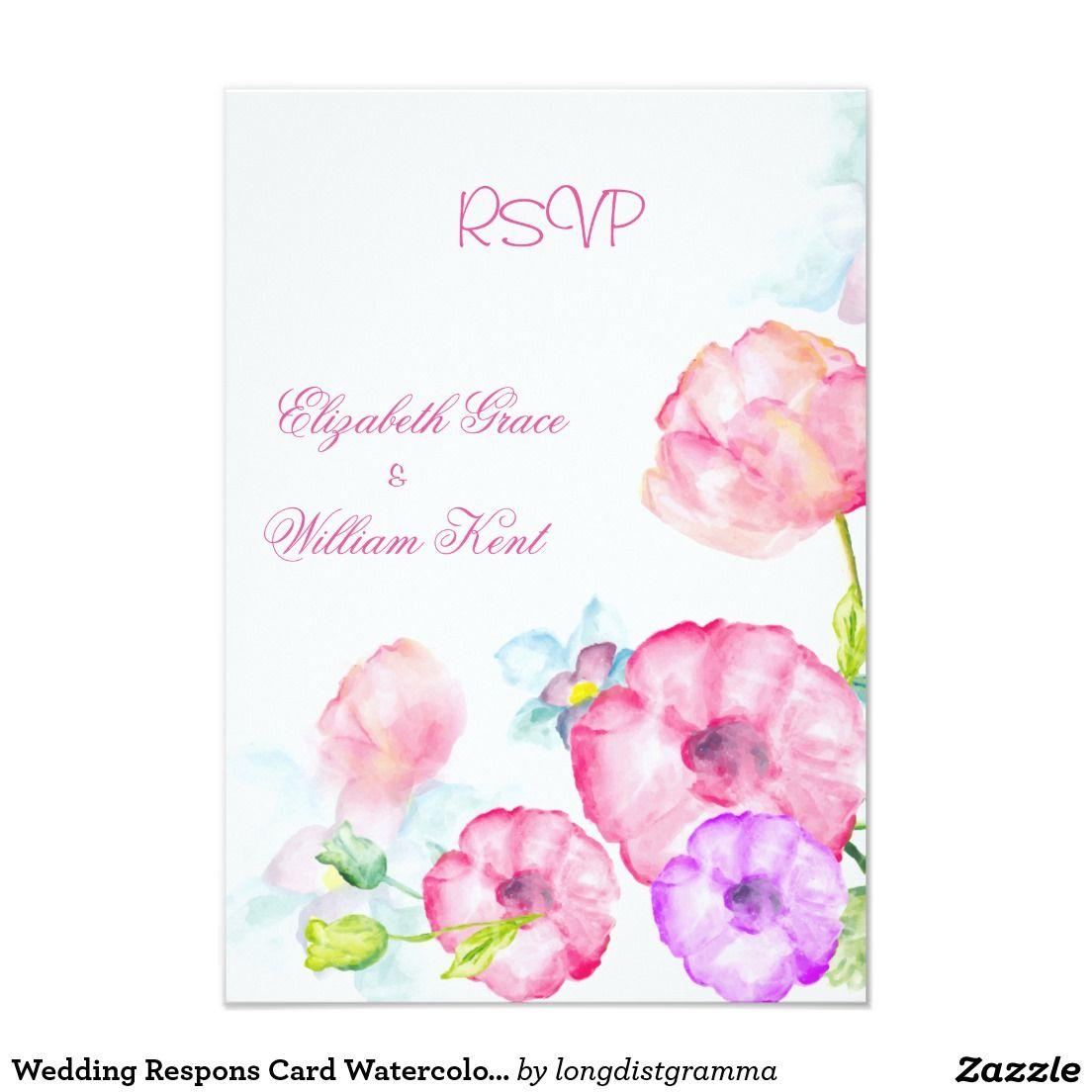 Wedding Respons Card Watercolor Spring Flowers Spring Wedding