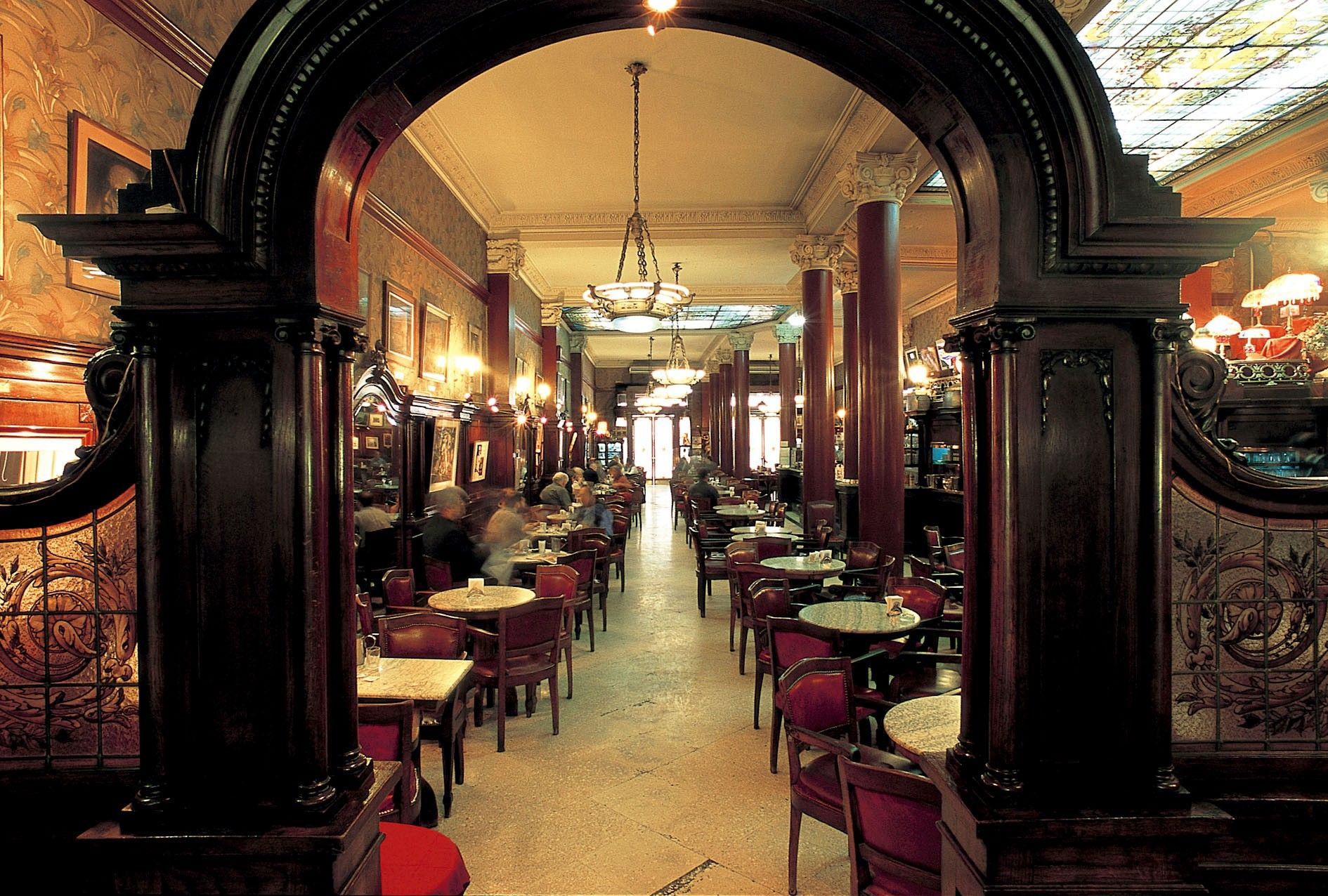 """""""""""TORTONI""""""""Buenos Aires, Argentina. Inside arches to lead"""