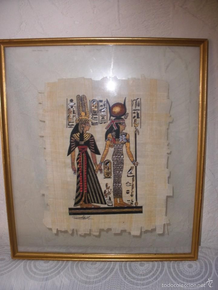 MARCO CON CRISTAL Y PAPIRO EGIPCIO,cuadro con papiro de Egipto ...