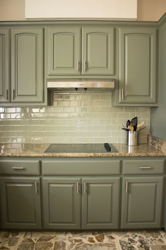 Our Exciting Kitchen Makeover Before And After Painted Kitchen Cabinets Colors Green Kitchen Cabinets Kitchen Design