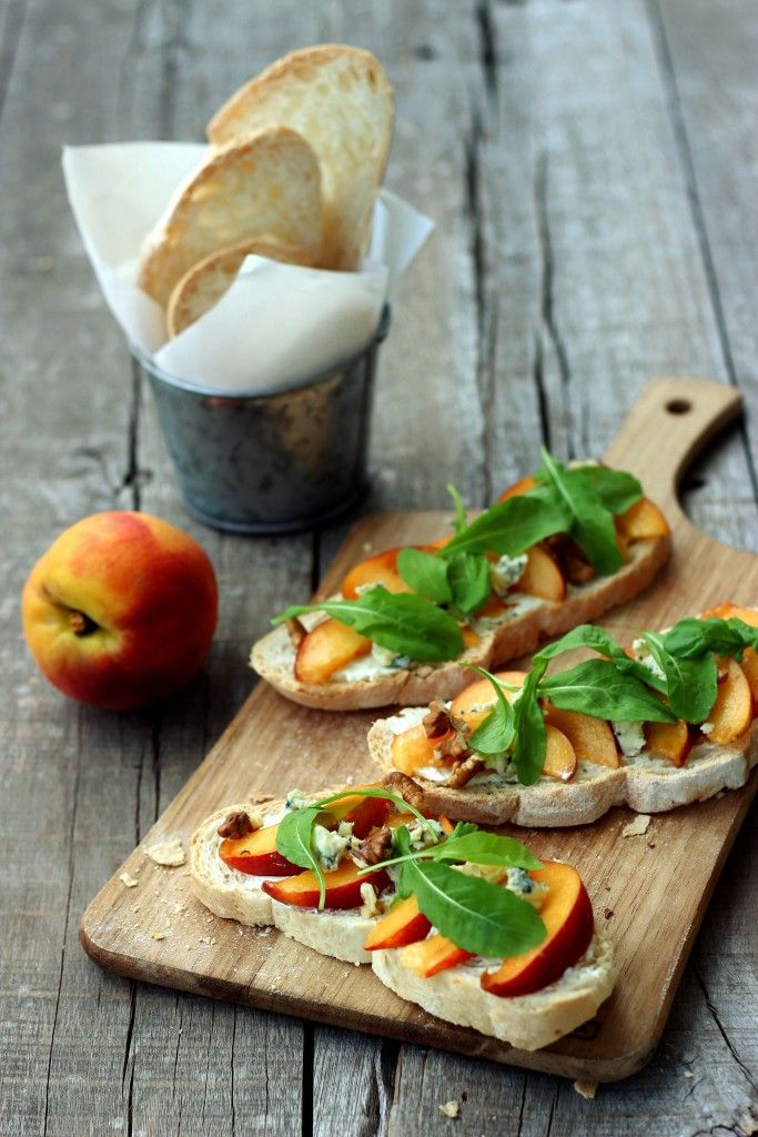 Peach & Arugula Bruschetta - Dish by Dish