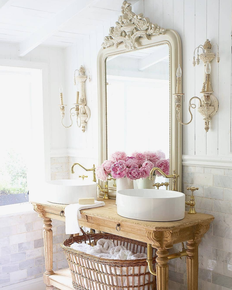 Inspiring Interior Designers Courtney Allison French Country Bathroom Design Brass Faucets Country Bathroom Designs Country Style Bathrooms French Country Rug
